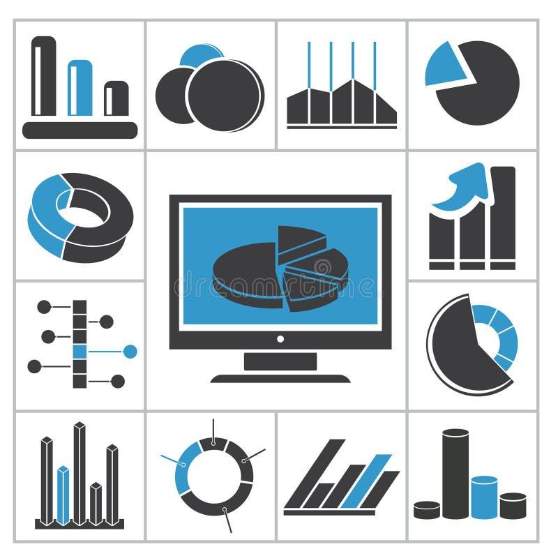 Diagrams ícones ilustração stock