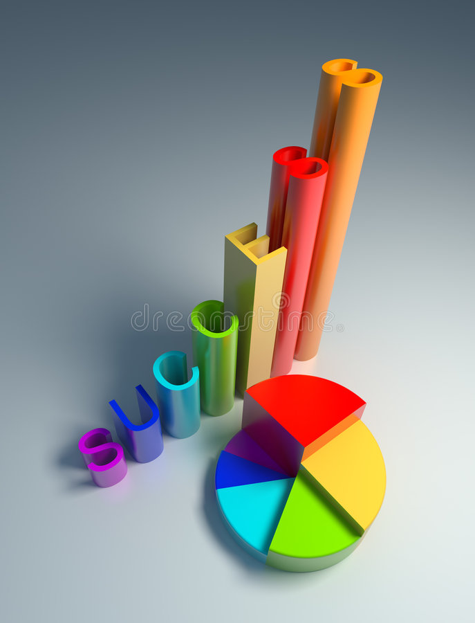 The diagrams. Of profits, classic and circle, are executed in different colors stock illustration