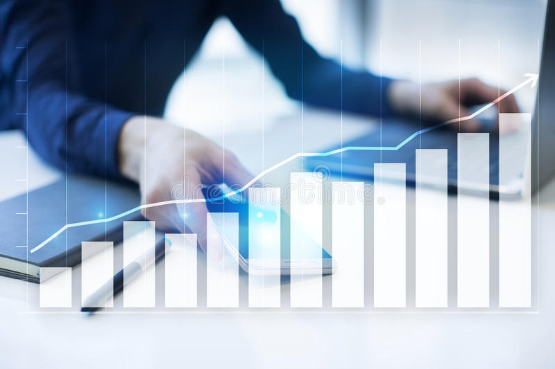 Diagrams and graphs. Business strategy, data analysis, financial growth concept. Diagrams and graphs on virtual screen. Business strategy, data analysis stock image