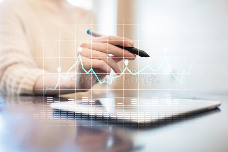 Diagrams and graphs on virtual screen. Business strategy, data analysis technology and financial growth concept. Diagrams and graphs on virtual screen. Business stock photo