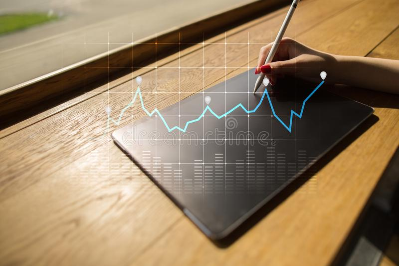 Diagrams and graphs on virtual screen. Business strategy, data analysis technology and financial growth concept. Diagrams and graphs on virtual screen. Business royalty free stock photography