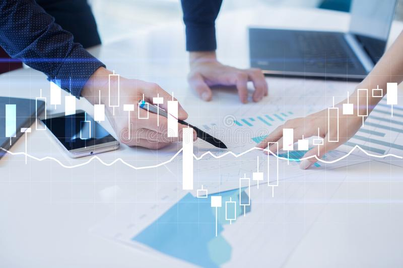 Diagrams and graphs on virtual screen. Business strategy, data analysis technology and financial growth concept. Diagrams and graphs on virtual screen. Business stock photos