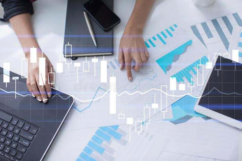 Diagrams and graphs on virtual screen. Business strategy, data analysis technology and financial growth concept. Diagrams and graphs on virtual screen. Business royalty free stock photos