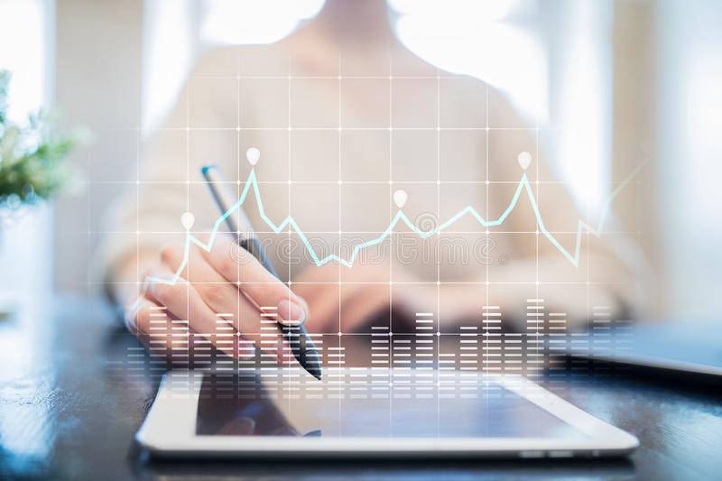 Diagrams and graphs on virtual screen. Business strategy, data analysis technology and financial growth concept. Diagrams and graphs on virtual screen. Business stock photography