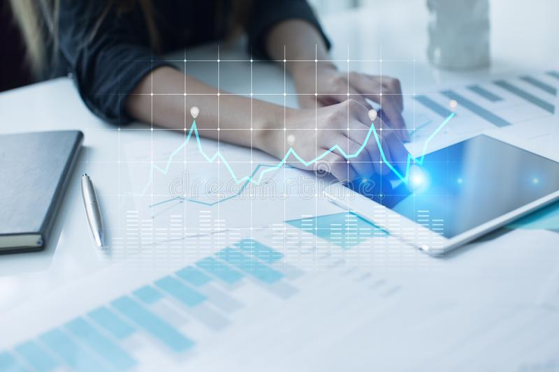 Diagrams and graphs on virtual screen. Business strategy, data analysis technology and financial growth concept. Diagrams and graphs on virtual screen. Business stock images