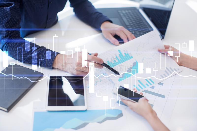 Diagrams and graphs on virtual screen. Business strategy and financial growth. Diagrams and graphs on virtual screen. Business strategy, data analysis royalty free stock image