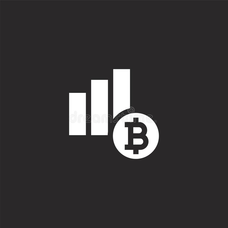 Diagramsymbol Fylld diagramsymbol för websitedesignen och mobilen, apputveckling diagramsymbol från fylld bitcoinsamling stock illustrationer