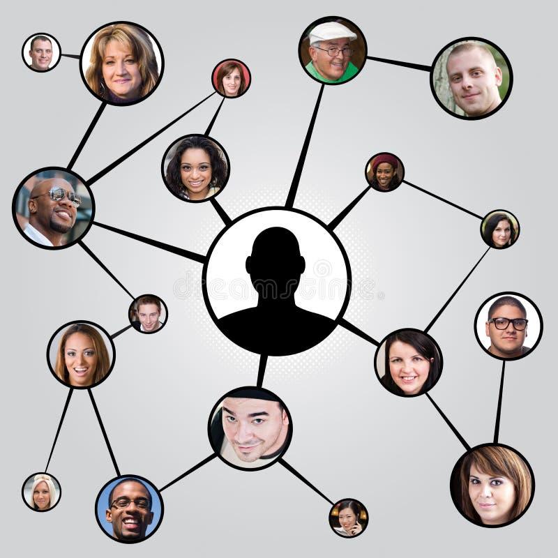 diagramvänner som knyter kontakt samkväm royaltyfri bild