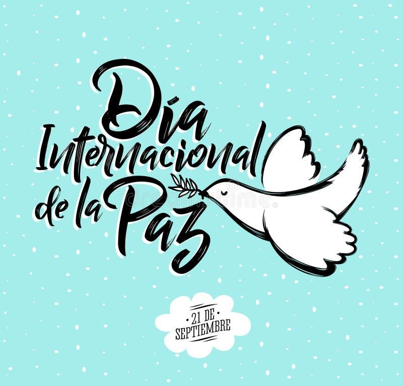 Diainternacional DE La Paz, Internationale dag van Vredes Spaanse teksten, 21 september stock illustratie