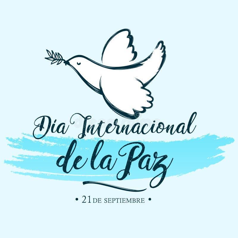 Diainternacional DE La Paz, Internationale dag van Vredes Spaanse vertaling vector illustratie