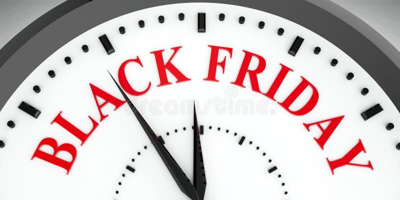 Dial de reloj Black Friday ilustración del vector