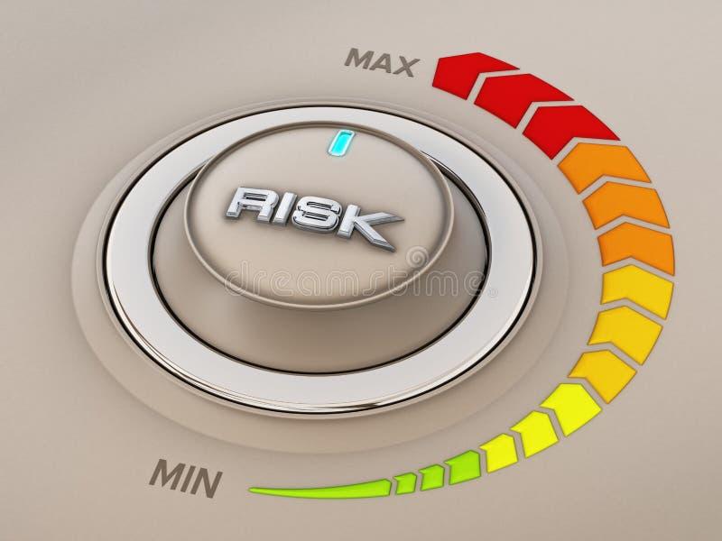 Dial del botón de control del estilo del vintage con palabra del riesgo ilustración 3D ilustración del vector