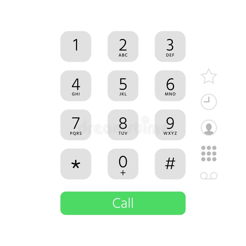 Dial keypad. Touchscreen phone number keyboard interface inspired by apple iphone ios dialer flat vector illustration. Dial keypad. Touchscreen phone number vector illustration