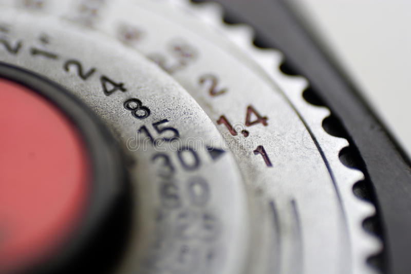 Dial on light meter stock image