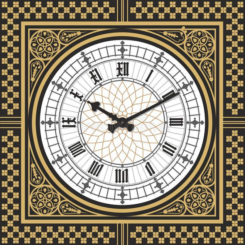 Dial Victorian clock in the style of Big Ben. Vector editable template.  vector illustration