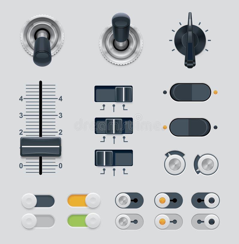 Diales del vector UI fijados stock de ilustración
