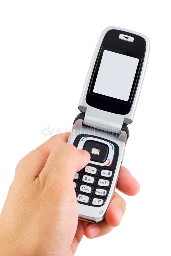 Dialing Cell Phone stock photo