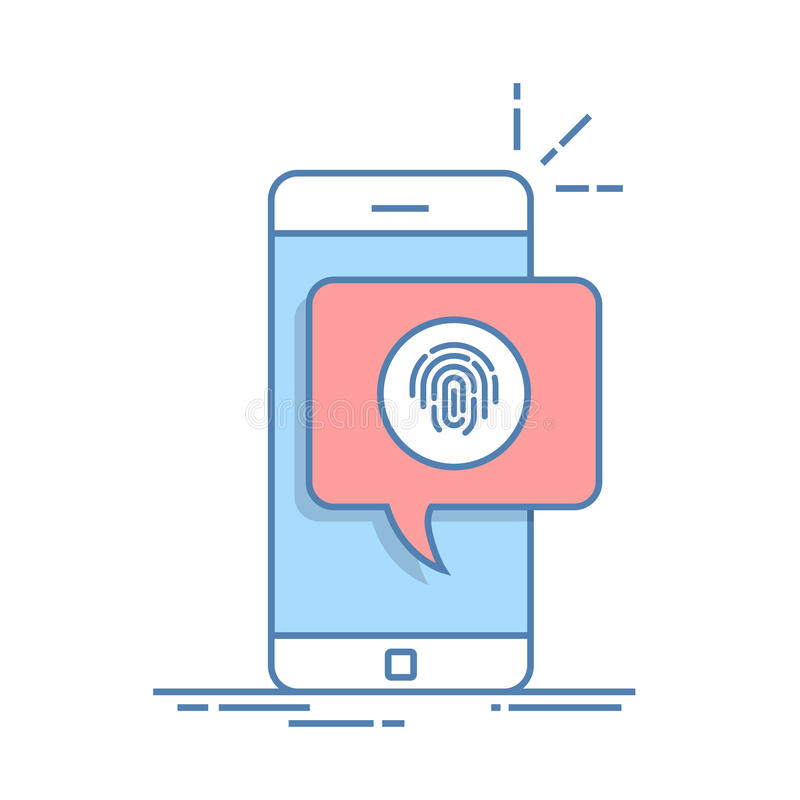 Dialog box on the phone with a suggestion to scan a fingerprint. Quick way to authorize in a mobile application. Thin stock illustration