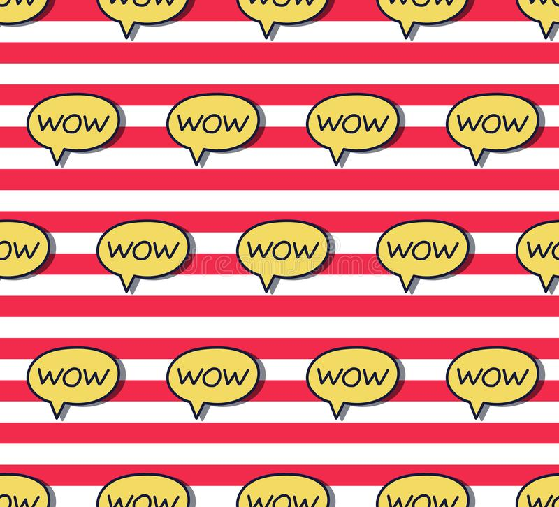 Dialog box with word wow seamless vector pattern. Dialog box with word wow colorful trendy comic pop art style seamless vector pattern royalty free illustration