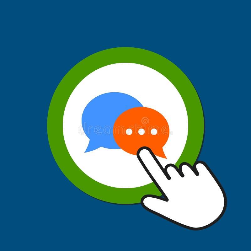 Dialog bubble icon. Chat, communication concept. Hand Mouse Cursor Clicks the Button stock illustration