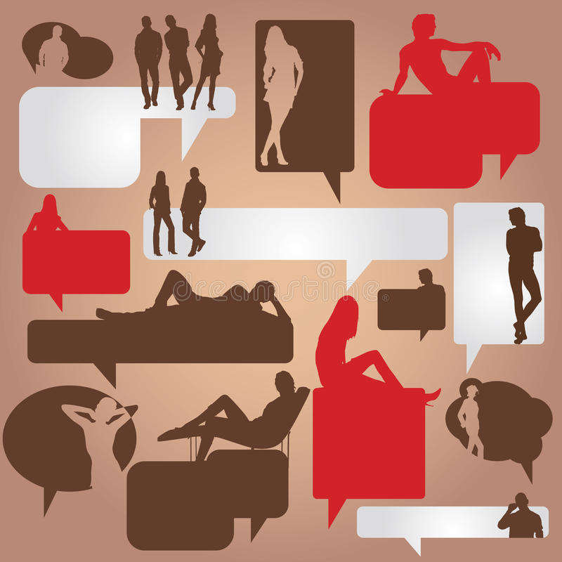 Dialog Bubbles With Silhouettes Of People Stock Photos