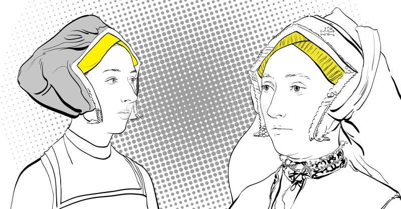 Dialog för kvinna` s Damer i medeltida klänning Medeltida legend medeltida kvinnor vektor illustrationer