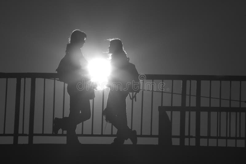 Dialog in light stock image