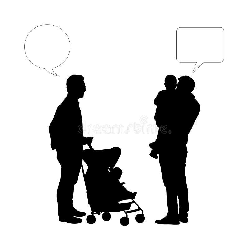 Dialog mellan två fäder av unga barn royaltyfri bild