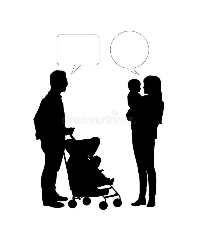 Dialog mellan två föräldrar av unga barn royaltyfri bild