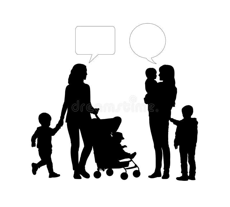Dialog mellan två mödrar av unga barn arkivbilder
