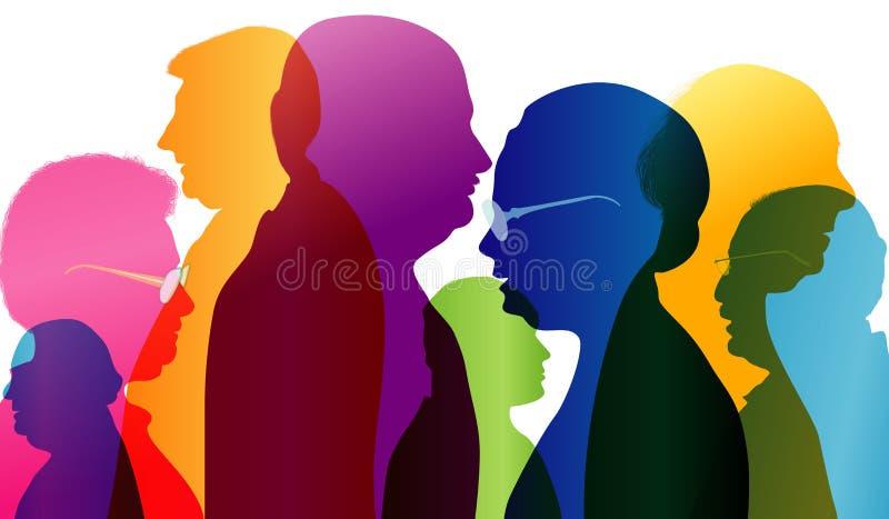 Dialog między starymi ludźmi Grupa starzy ludzie opowiadać Rozmowa w dojrzałym wieku Barwiony sylwetka profil Wieloskładnikowy ex ilustracji