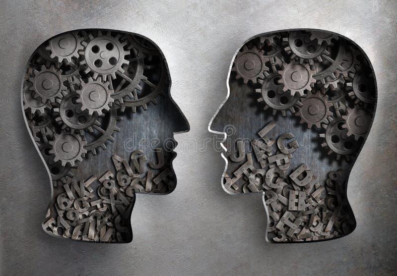 Dialog oder Kommunikation, Informationen und Wissen lizenzfreie abbildung