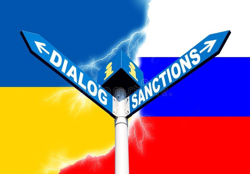 Dialog-Sanctions road sign vector illustration