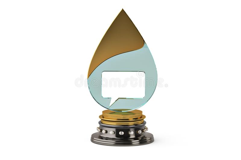 The dialog and water droplets trophy,3D illustration. The dialog and water droplets trophy, 3D illustration vector illustration