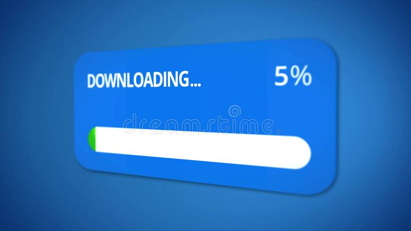 Dialog window, start of downloading, status bar shows process, slow internet stock images