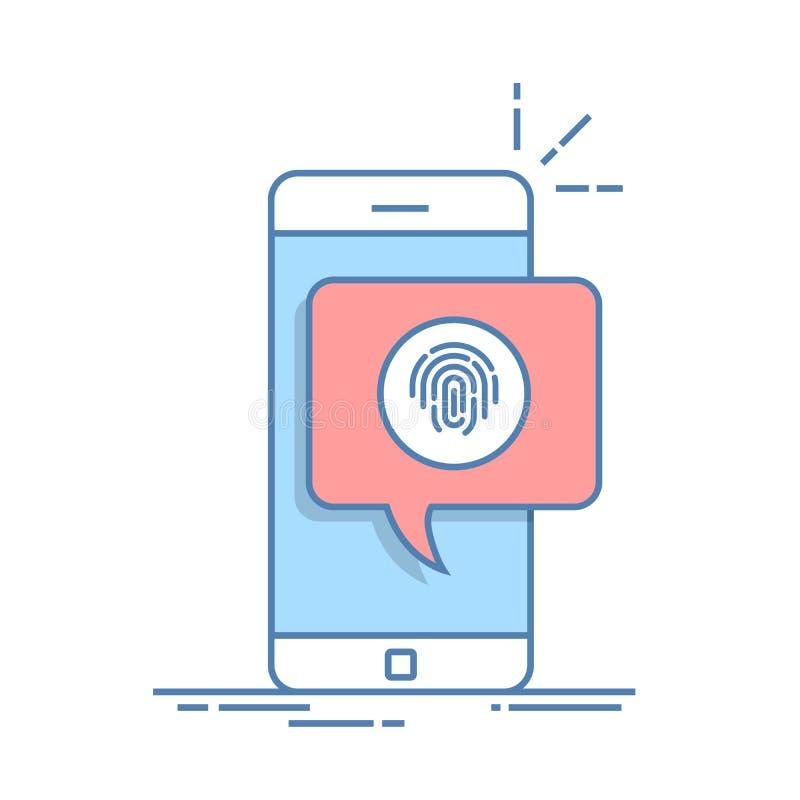 Dialogask på telefonen med ett förslag att avläsa ett fingeravtryck Snabb väg att bemyndiga i en mobil applikation tunt stock illustrationer