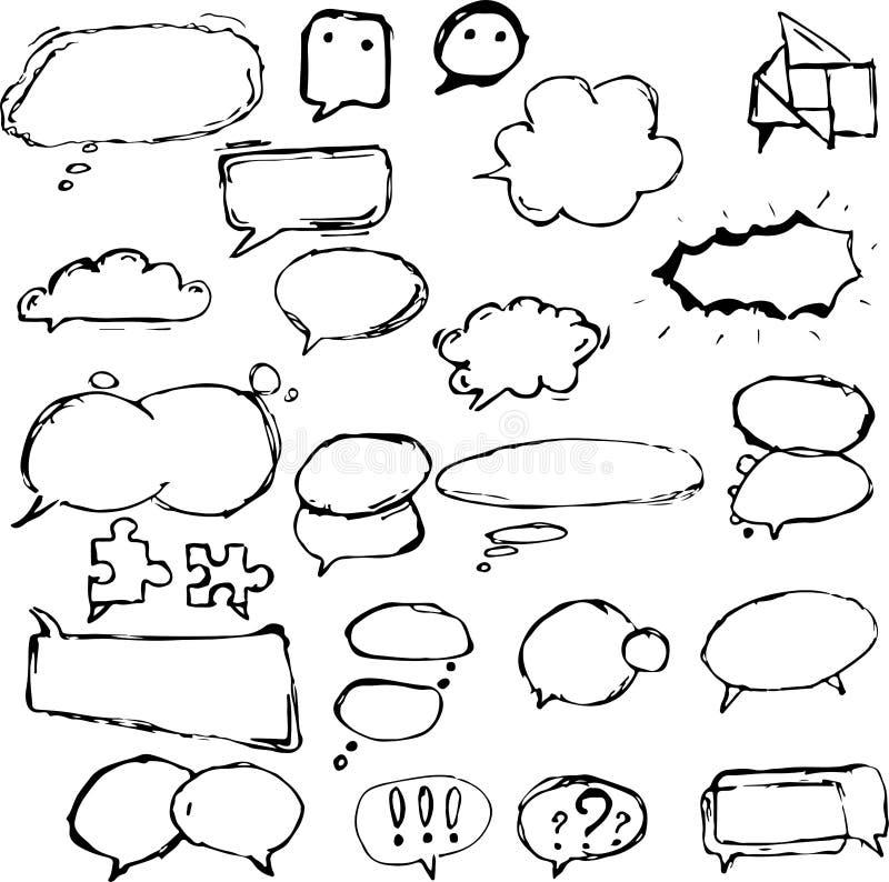 Dialogaskar och ballonger i olika former royaltyfri bild