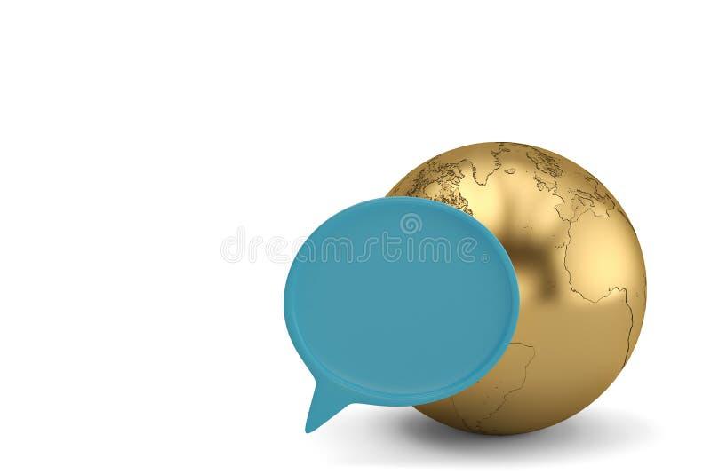 Dialogaskar och jordklot på den vita illustrationen för bakgrund 3D vektor illustrationer