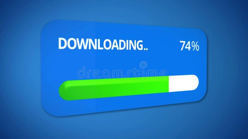 Dialogfeld mit Downloading der Mediendatei, Statusleiste füllte Drei viertel aus vektor abbildung