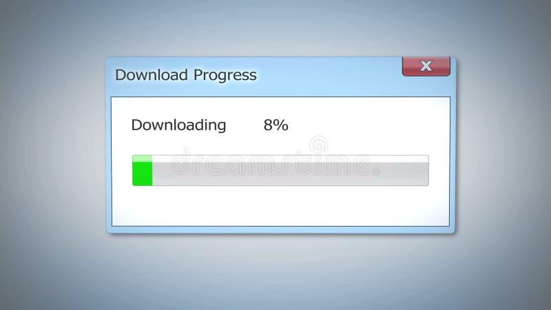 Dialoghi la finestra, progresso di download attaccata all'inizio, software antiquato fotografia stock libera da diritti