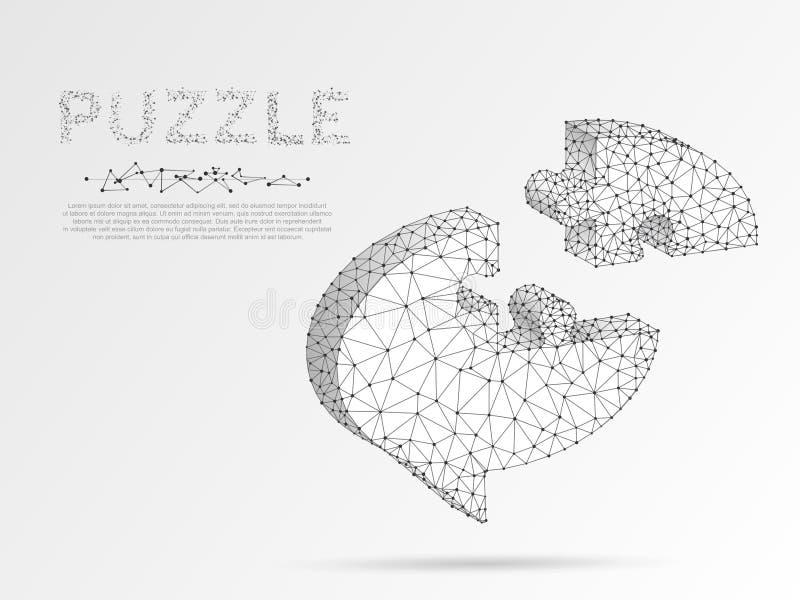 Dialogmolnorigamin utformar pusslet Abstrakt socialt nätverk eller pratstund Poly neonbottenläge Polygonal wireframe vektor stock illustrationer