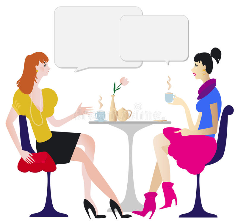 Dialogue In Cafe Royalty Free Stock Image