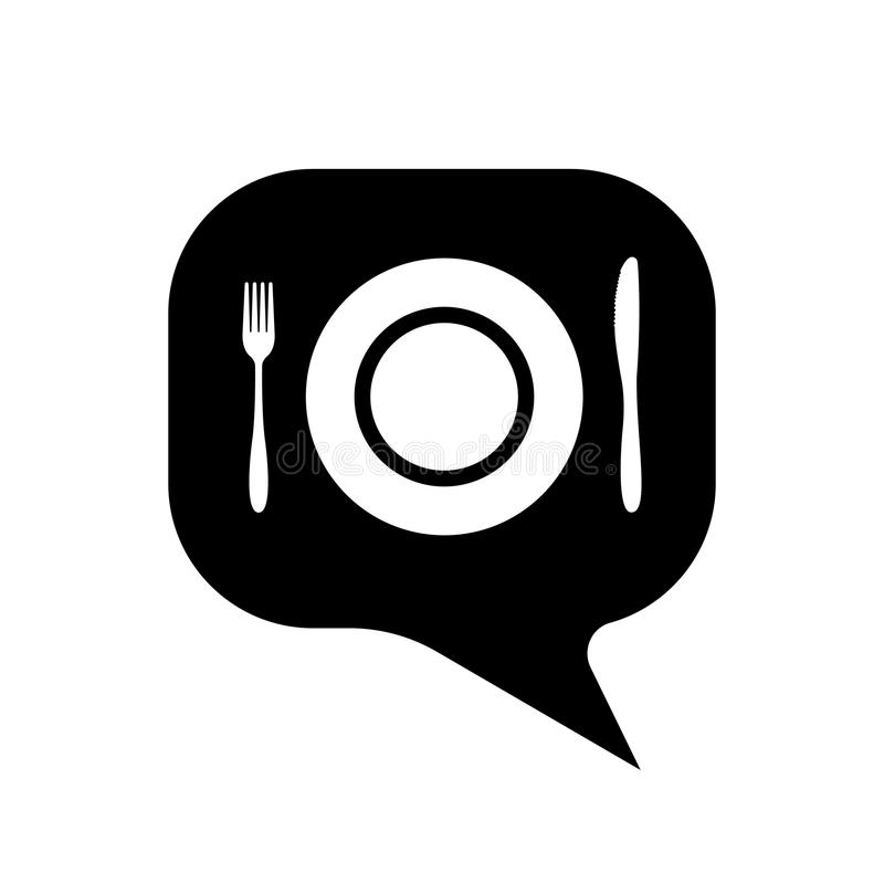 Dialogue cutlery icon. fork knife and plate isolated royalty free illustration