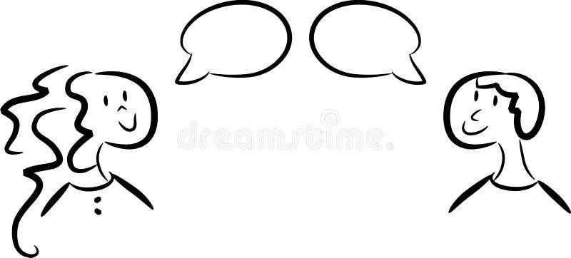 Dialogue entre le femme et l'homme illustration de vecteur
