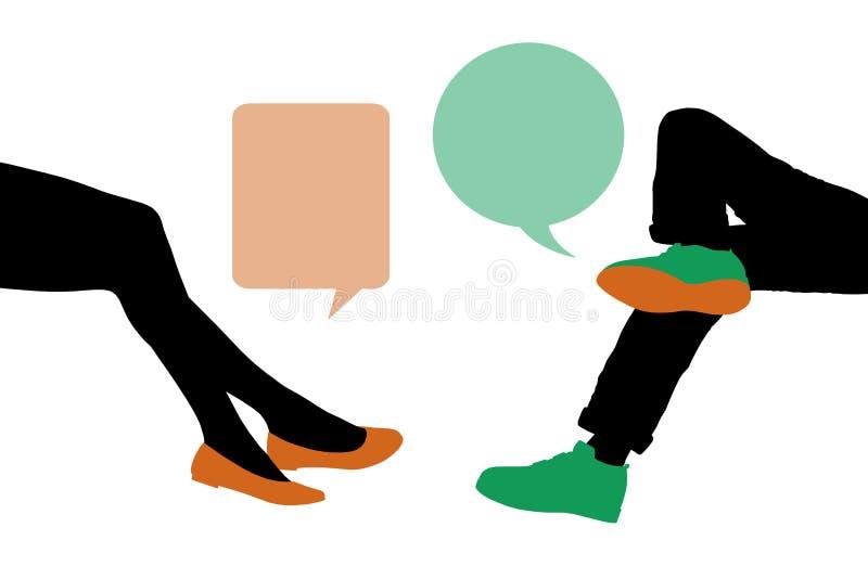 Dialogue entre le jeune homme et la femme assis illustration de vecteur