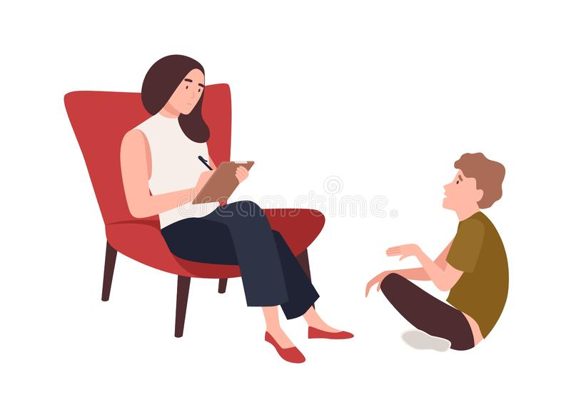 Dialogue entre le psychologue, le psycho-analyste ou le psychothérapeute féminin et le patient d'enfant s'asseyant devant elle En illustration de vecteur