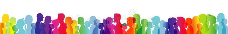 Dialogue entre les personnes de différents âges et les ethnies Parler de foule Silhouette de profil colorée par arc-en-ciel Beauc illustration de vecteur