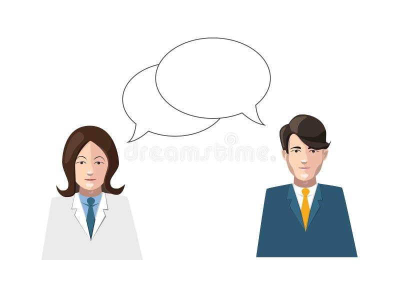 Dialogue a ilustração lisa do vetor dos homens e das mulheres sobre ilustração do vetor