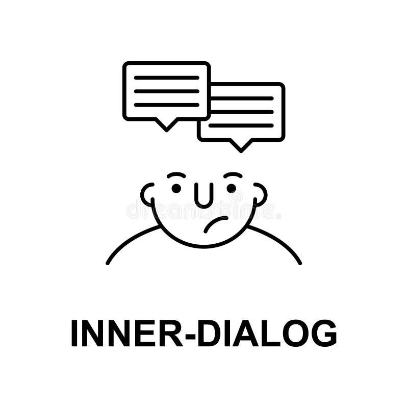dialogue intérieur sur l'icône d'esprit Élément d'icône d'esprit humain pour les apps mobiles de concept et de Web La ligne mince illustration libre de droits