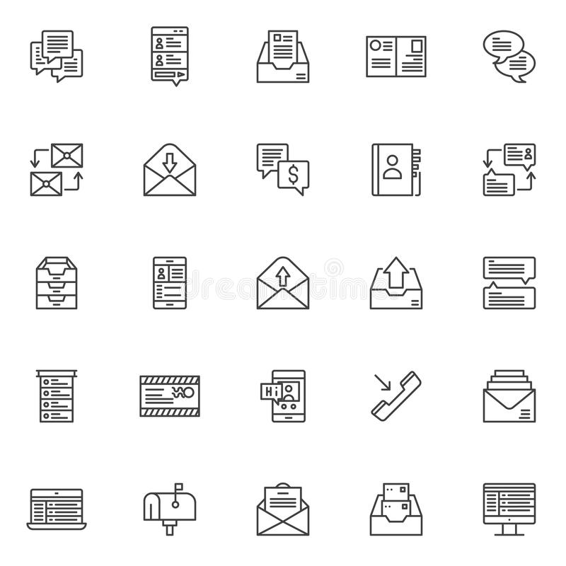 Dialogue messages outline icons set royalty free illustration
